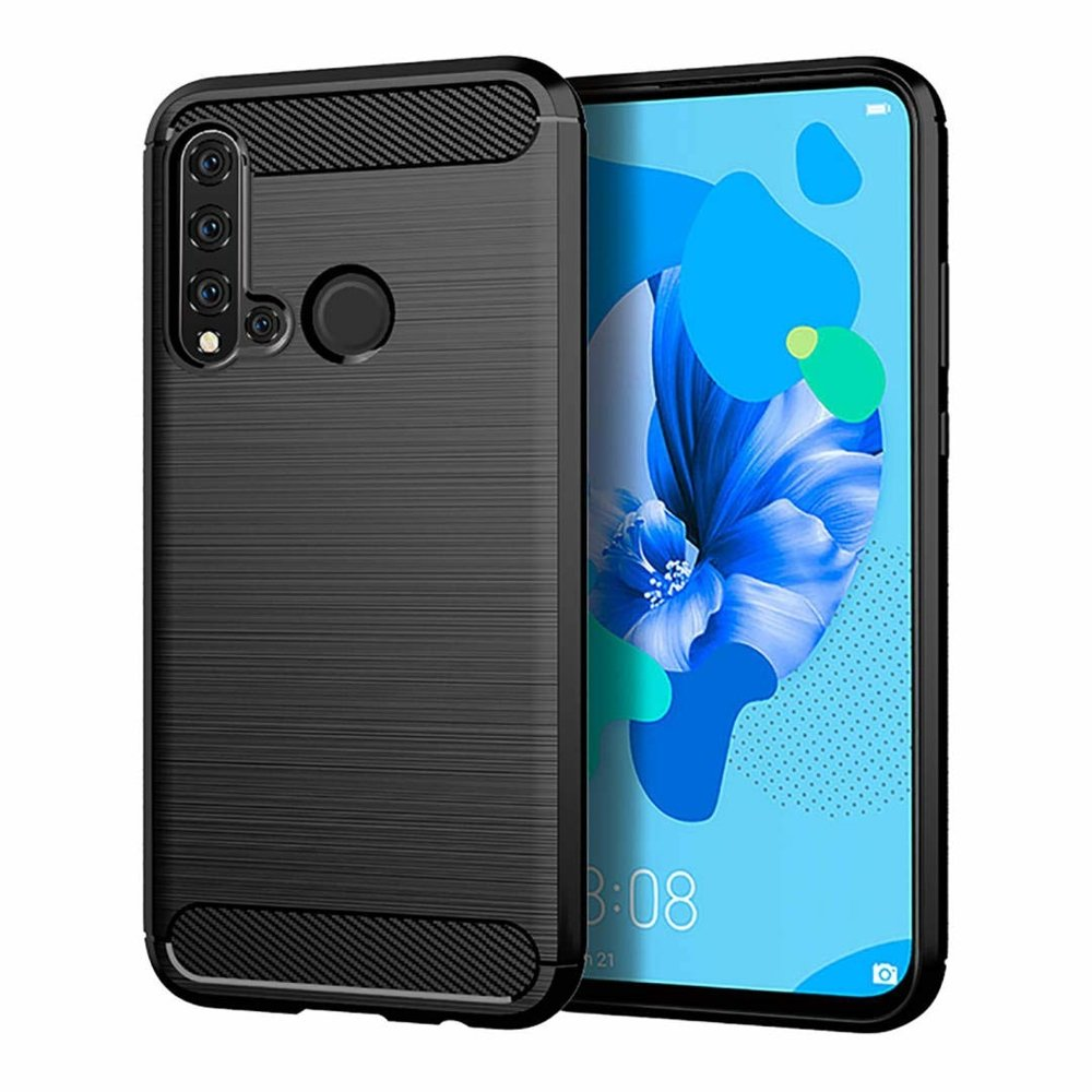 Carbon Case Flexible Cover TPU Case for Huawei P30 Lite | Black | 7426825364432