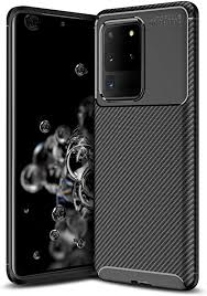 Carbon Case Flexible Cover TPU Case for Samsung Galaxy S20 Plus | Black | 9111201893153